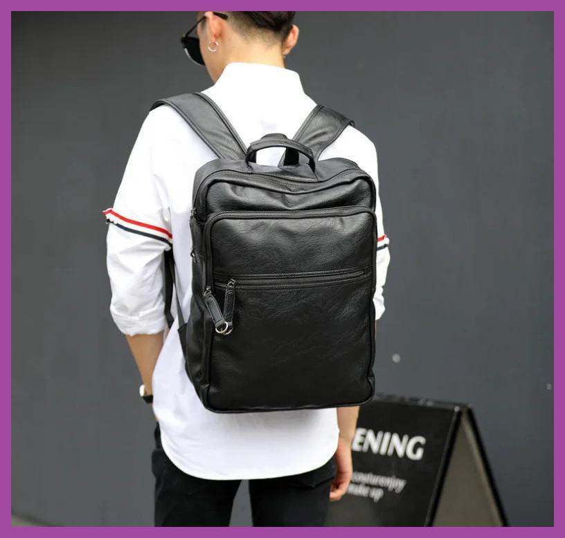Стильний великий чоловічий рюкзак для ноутбука з екошкіри, Рюкзаки міські молодіжні чоловічі
