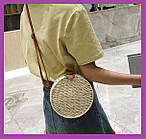 Жіноча бамбукова кругла сумочка