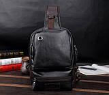 Чоловіча сумка грудна чорна, Чоловічі сумки та барсетки, рюкзак сумка на плече, чоловіча сумка на груди