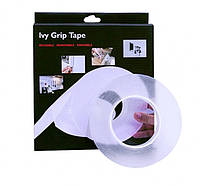 Многоразовая крепежная лента гелиевая на любые поверхности UKC IVY Grip Tape 1 м прозрачная, фото 1