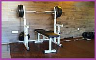PProf 0115. Лава для жиму, стійки для присідань + 115 кг млинців і 3 грифа, фото 1