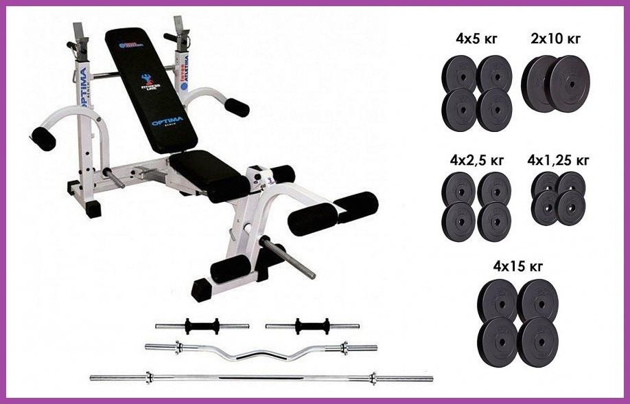 Силовой набор на 115кг блинов + 4 грифа (Гантели гири штанги) + Многофункциональная скамья для жима складная