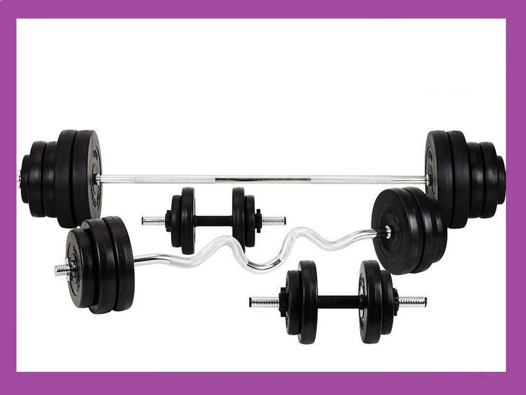 Силовий набір на 80 кг. гантелі, гирі, штанги металеві і диски, Штанги сталеві Грифи млинці Диски