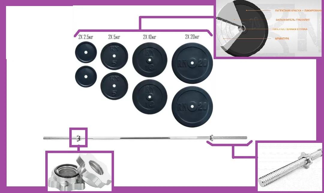 Розбірна штанга для будинку на 82 кг,Гантелі та штанги сталеві для фітнесу, Штанги грифи диски металеві