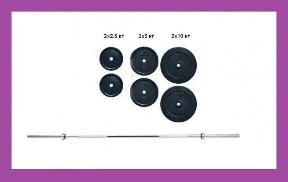 Розбірна штанга для будинку на 40 кг,Гантелі та штанги сталеві для фітнесу, Штанги грифи диски металеві