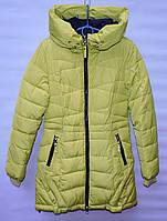 Зимнее пальто для девочки 6-14 лет C&LC салатовое