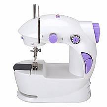 Швейна машинка міні портативна Mini Sewing Machine FHSM-201 з адаптером і педаллю, фото 3