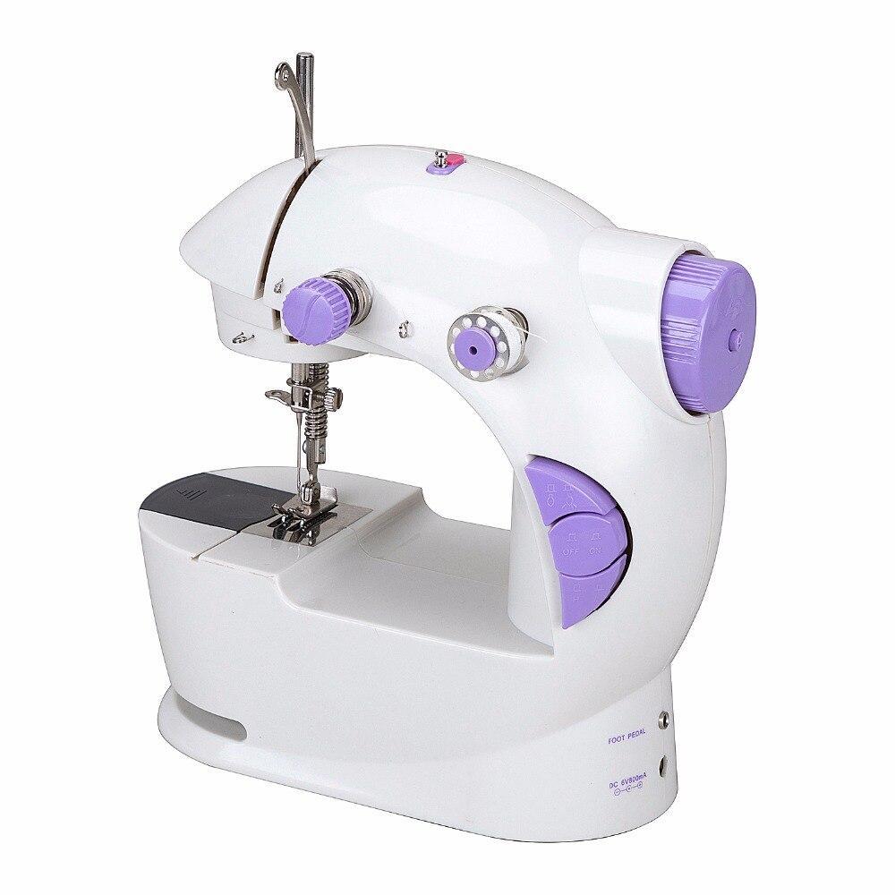 Швейная мини машинка портативная Mini Sewing Machine FHSM-201 с адаптером и педалью
