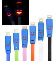 USB дата кабель для Iphone 5 5C 5S 6, LED смайл