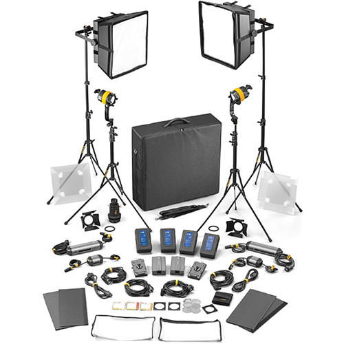 Dedolight DLED4.1/Felloni 2x2 Daylight 4-Light Master Kit (Mains & Battery Operation) (SLED2X2-D-M)