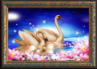 Набор для рисования камнями (холст) 5D Лебединая верность LasKo