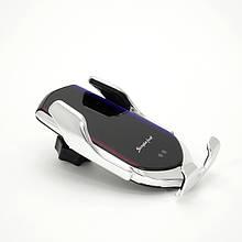Автомобильное крепление для телефона с функцией беспроводной зарядки R2 Серебро, КОД: 1852477