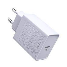 Сетевое зарядное устройство Topk Qualcomm Quick Charge 3.0 18W USB Type-C PD White TK154-WT, КОД: 1721061
