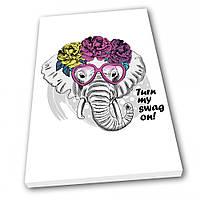 Картина на холсте Kronos Top Fashion Слон 80 х 120 см lfp65336390280120, КОД: 941701