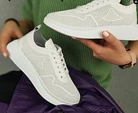 Кросівки літні білі з натуральної шкіри з перфорацією