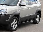 Hyundai Tucson JM 2004↗ рр. Бічні пороги Allmond Black (2 шт., алюміній)