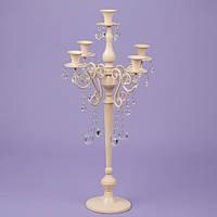 Подсвечник 66см на 5 свечей с кристаллами, кремовый (2 шт.) (2011-022)