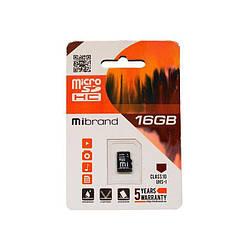 Карта пам'яті Mibrand microSDHC 16GB Class 10 UHS-I Без адаптера (MICDHU1/16GB)