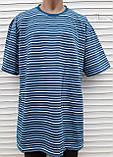 Мужская футболка большого размера 58 размер Бежево-белые полоски, фото 2
