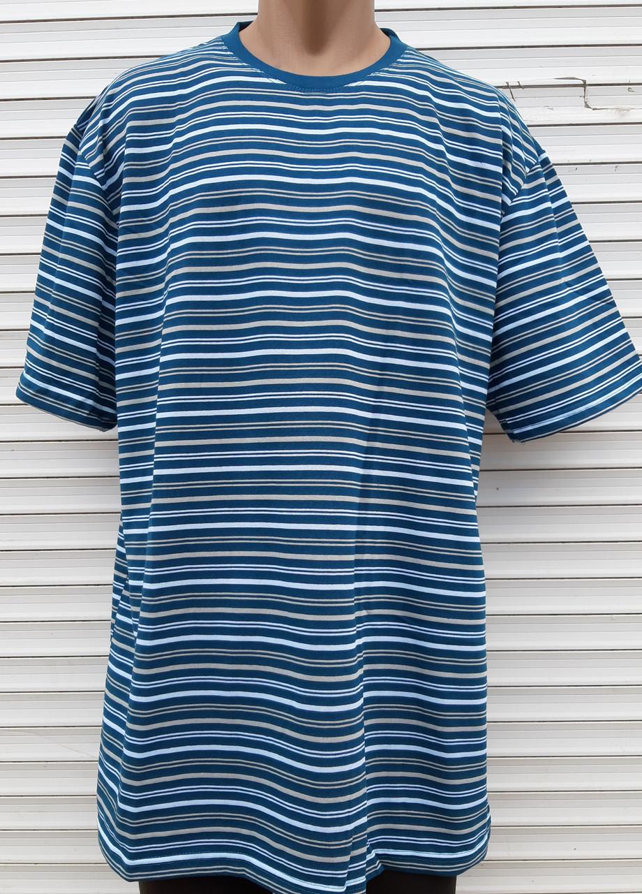 Мужская футболка большого размера 58 размер Бежево-белые полоски