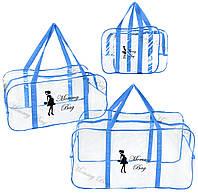 Набор из прозрачных сумок в роддом Mommy Bag, размеры - S, L, XL, цвет - Синий