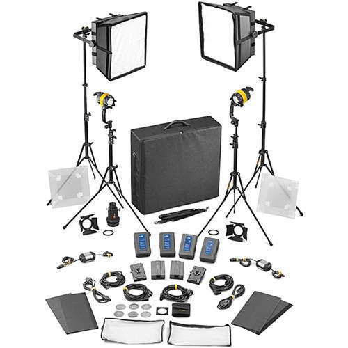 Dedolight DLED4.1/Felloni 2x2 Daylight 4-Light Battery Kit (Battery Operation) (SLED2X2-D-BAT)