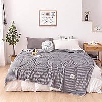 Однотонный серый Плед велсофт на диван Рубчик, Серый, 200х220