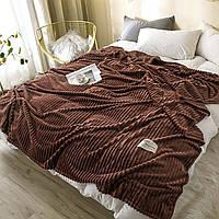 Красивый однотонный плед Soft на диван Рубчик, Шоколадный, 200х220