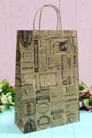 Подарунковий паперовий крафт пакет УП 24*37*10см 10шт/уп (100шт/ящ) №ПАК-1014БР