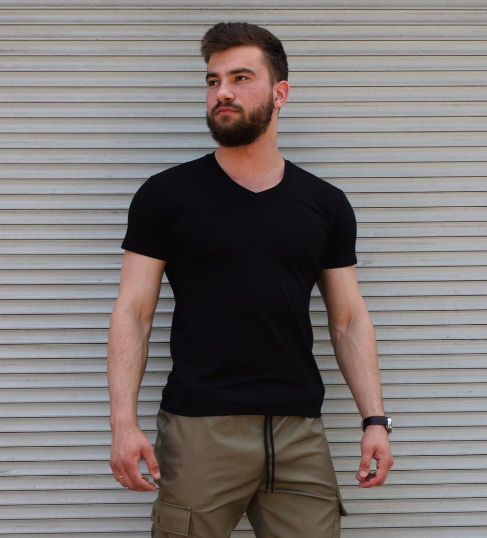 Чоловіча футболка стрейчева чорна Сл 1190