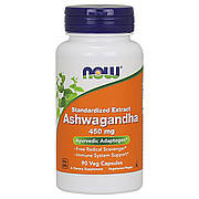 Ашваганда 450 мг, Now Foods, 90 гелевых капсул