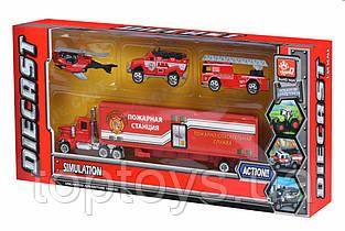 Набір машинок Same Toy Diecast Вантажівка з пожежними (SQ80958-4Ut)