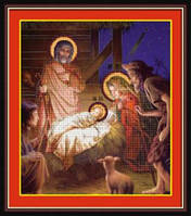 Набор для рисования камнями (холст) 5D Рождество Христово LasKo