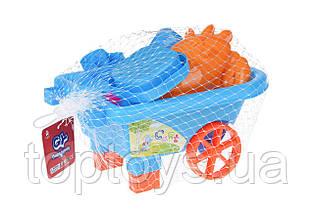 Набір для гри з піском Same Toy з візком 6 предметів блакитний (B015-Eut-2)
