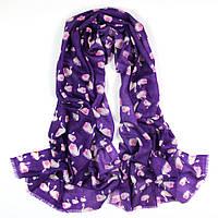 Шерстяной шарф сиреневый с лебедями