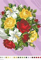 Схема для вышивки нитками Розы и лилии