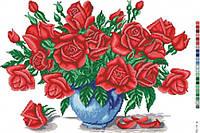 Схема с нанесенным рисунком Розы в вазе