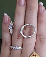 Серебряный набор серьги и кольцо из серебра с золотом, фото 1