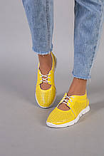 Мокасины женские кожаные желтого цвета с перфорацией