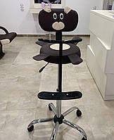 Дитяче перукарське крісло з аплікацією Ведмідь шкірозамінник Коричневий (Frizel TM)