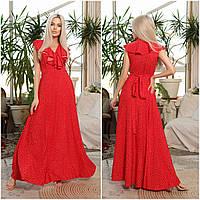 Червоне жіноче плаття на запах в підлогу НА/-40370