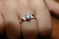 Серебряное кольцо с накладками из золота и камнями, фото 1