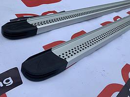 Nissan X-trail T32 /Rogue 2014↗ рр. Бічні пороги Maya V2 (2 шт., алюміній)