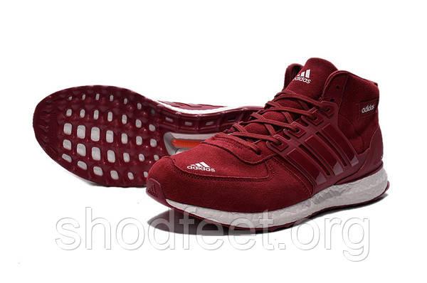 Зимние мужские кроссовки Adidas Ultra Boost Red (Замша)