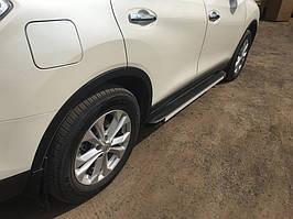 Nissan X-trail T32 /Rogue 2014↗ рр. Бічні пороги Maya V1 (2 шт, алюміній)