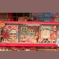 Большой набор мебели с куклой для Барби спальня, гардероб кровать,трюмо, платья, мебель для домика барби