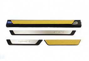 Nissan Note 2013↗ гг. Накладки на пороги (4 шт) Sport