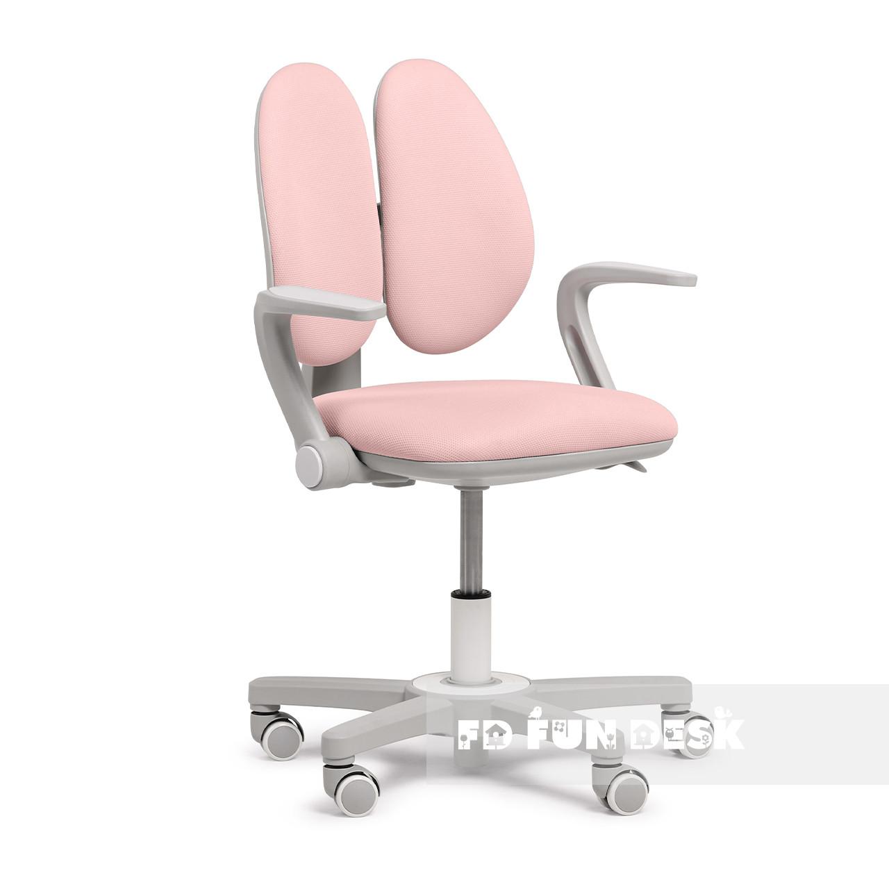 Детское эргономичное вращающееся кресло Fundesk Mente Pink с подлокотниками