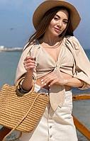 Соломенная женская сумка с круглыми ручками  и длинный наплечный поясок