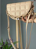 Бежевая женская сумка клатч с длинной ручкой